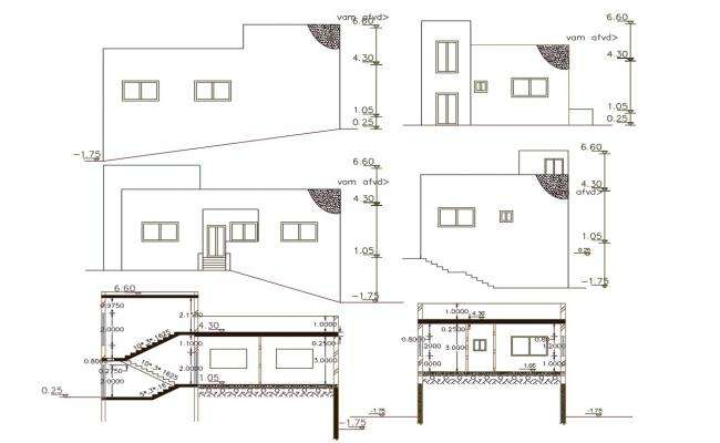 1040 Square Feet House Building Design DWG File