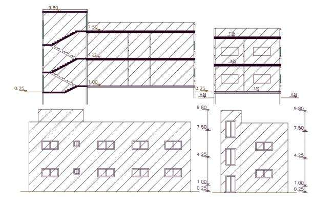1250 Sq Ft House Building Design DWG File (144 Square Yards)