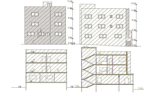 1800 Square Feet Apartment Building Design DWG File