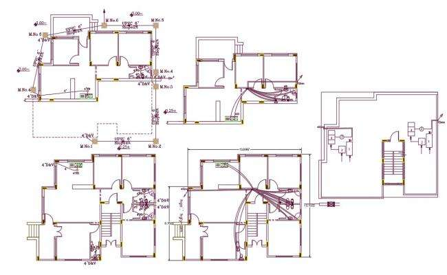1800 Square Feet House Plumbing Plan DWG File
