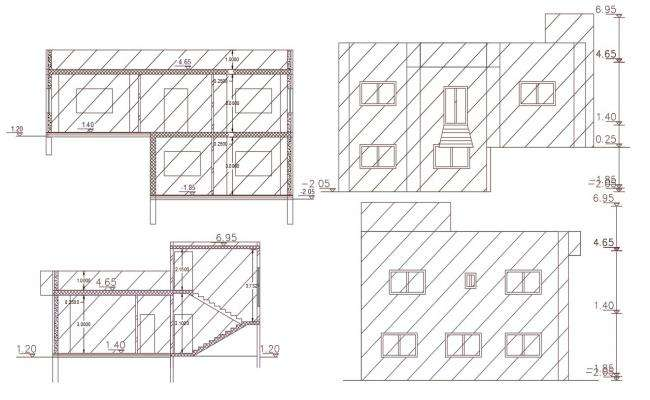 204 Square Yard House Building DWG File