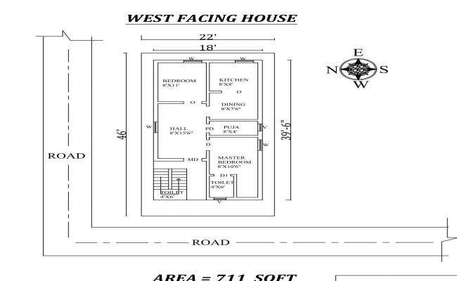 22'x46' 2 BHK West Facing House Plan As Per Vastu Shastra,Autocad DWG and PDF File Details