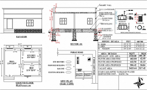 24' X18' East facing 2bhk blueprint house plan is given. Download Autocad DWG and PDF file format of this house plan.