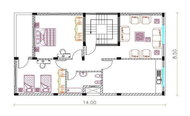 27 By 45 Feet House Furniture Plan AutoCAD File