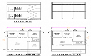 29'X28' 2bhk north-facing G+1 Home Plan as per vastu Shastra. Download Autocad Drawing and PDF file.