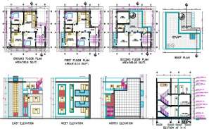 2 BHK House 3 Storey Floor Plan With Building Sectional Elevation Drawing