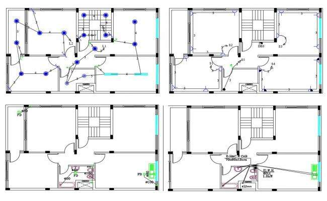 2 BHK House Electrical Wiring And Plumbing Plan Design