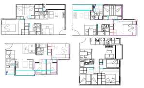 2 BHK Unit House Plan With Furniture Drawing DWG File