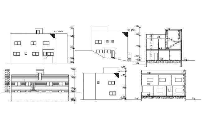 2 Storey House Building Sectional Elevation Drawing
