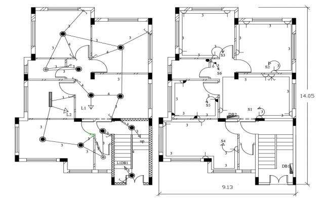 30 By 46 Feet House Electrical Layout Plan DWG File