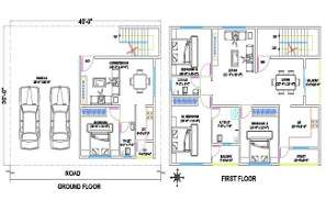 30'X40' House Ground Floor And First Floor Plan CAD Drawing DWG File
