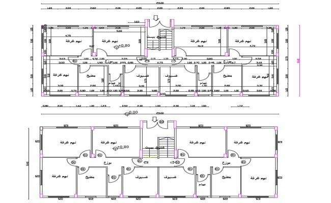 30' X 75' Dual House Plan AutoCAD File