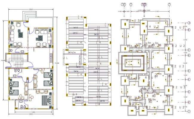 32 By 52 Feet AutoCAD House Furniture Layout Plan