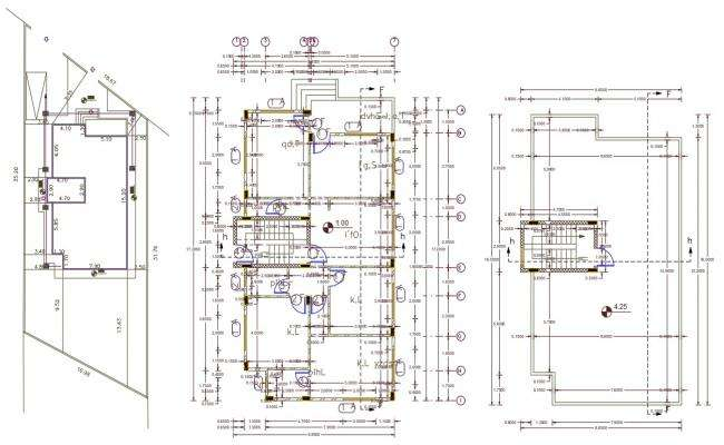 32' X 52'  Architecture 3 BHK House Plan Design DWG File