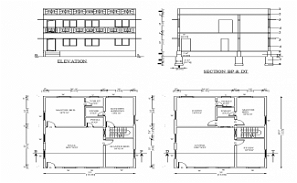 33'X40' 2BHK G+1 House plan layout is given in this AutoCAD DWG file.Download the AutoCAD Drawing file.