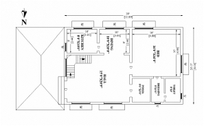 39'X26' North facing single bhk house plan as per Vastu Shastra.Download Autocad DWG and PDF file.