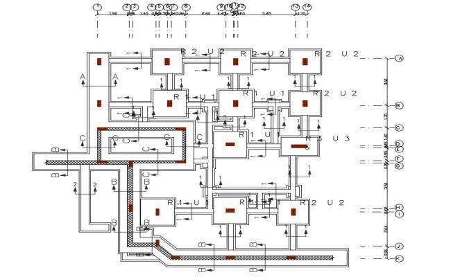 3 BHK House Foundation Plan Design DWG File