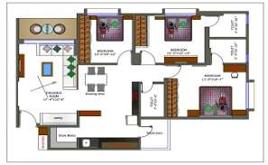 3 BHK House Plan With Furniture Layout Plan CAD Drawing DWG File