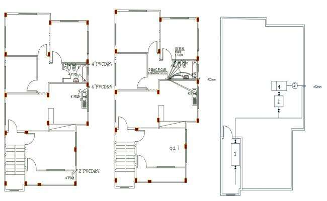 3 BHK House Plumbing Plan DWG File