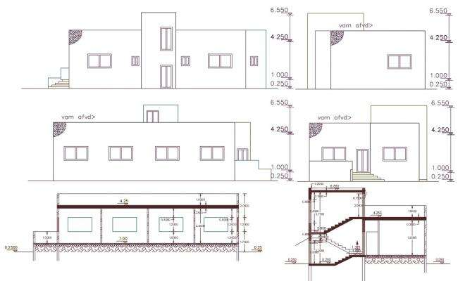 3 BHK Single Storey House Building CAD Drawing