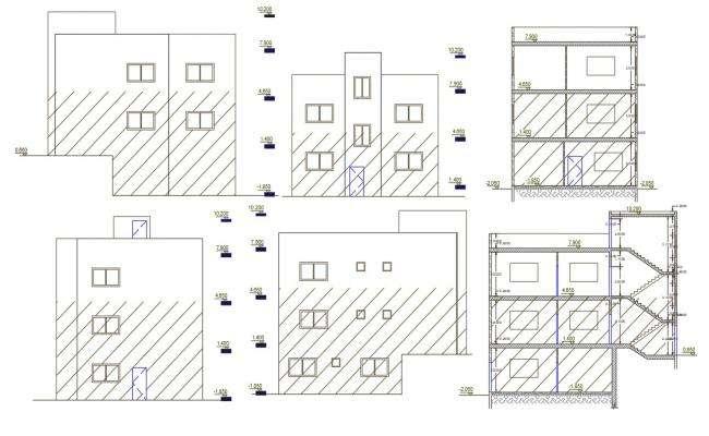 3 Storey Apartment Building Design AutoCAD File