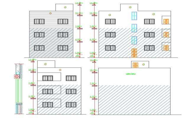 3 Storey Apartment Building Elevation Design DWG File