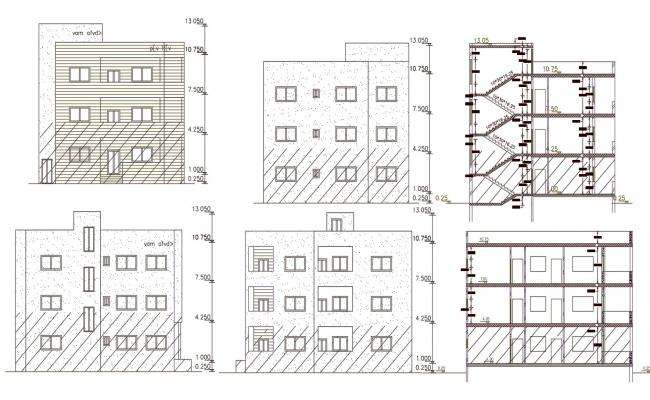 3 Storey Apartment Building Section And Elevation Drawing
