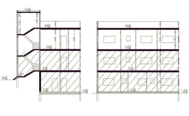 3 Storey Apartment Section CAD Drawing