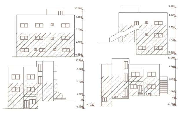 3 Story Apartment Building Elevation Design