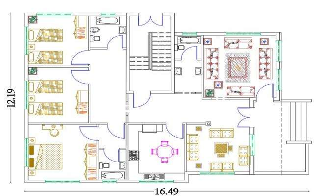 40' X 54' House Furniture Layout Plan Design DWG File