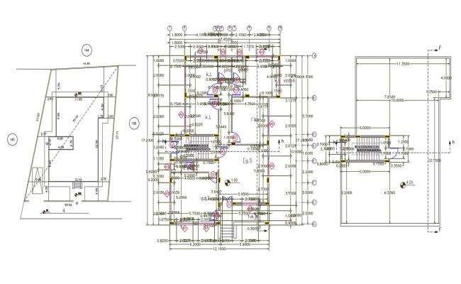40 X 55 Feet 3 BHK House Center Line Plan