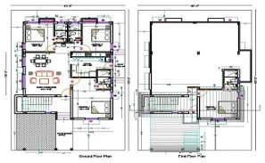 40X60 House Floor Plan With Interior Furniture Plan DWG File