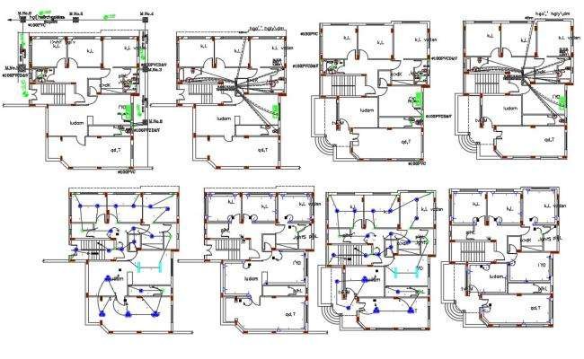 44 X 52 House Plumbing And Electrical Layout Plan DWG File