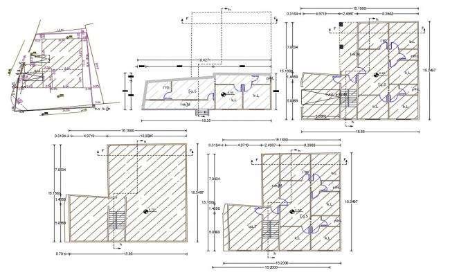 4 BHK Architecture Apartment Floor Plan Design CAD Drawing