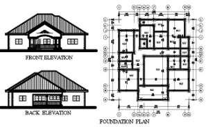 4 BHK House Foundation Plan And Elevation Design DWG File
