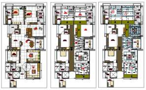 4 BHK House Plan With Ceiling And Electrical Layout Drawing DWG File