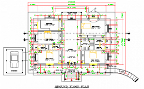 4BHK house Floor plan is given in this AutoCAD DWG Drawing File.Download the Autocad dwg file.