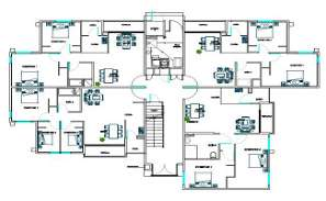 4 Unit Apartment Cluster Layout Plan With Furniture Set Up Drawing DWG File