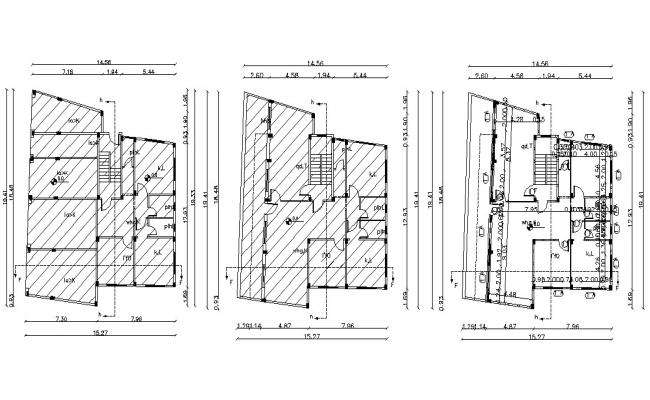 50' X 65' Feet Residential Apartment Layout AutoCAD Plan