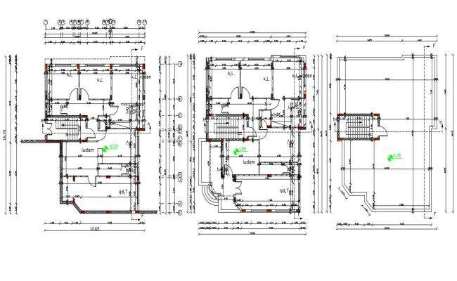 52 X 54 Feet House With Center Line Plan