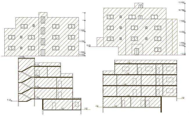 52' X 72' Feet Apartment Building Design DWG File