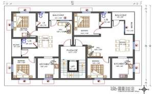 60'X40' North Facing 2 BHK House Apartment Layout Plan DWG File