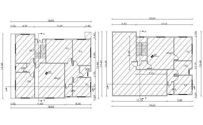 60' X 45' FT (2700 SQ FT) Duplex Apartment Architecture CAD Drawing