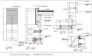 Aluminum Fin details and Reinforced concrete parapets are provided in this AutoCAD DWG Drawing File.Download the 2D CAD DWG file now.