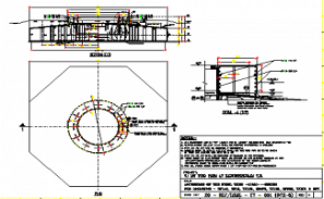 Anchorage of steel tube section details is given in this AutoCAD DWG Drawing File.