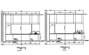 Architectural plan of the kitchen side view is given in this AutoCAD Drawing.Download the AutoCAD 2D DWG file.
