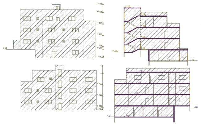 Architecture Apartment Building Sectional Elevation Design