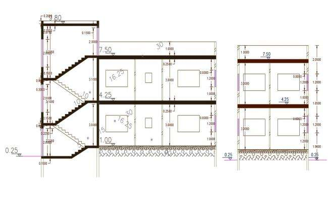 Architecture AutoCAD House Building Section Drawing