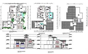 Architecture Bungalow Floor Plan With Building Elevation Design DWG File