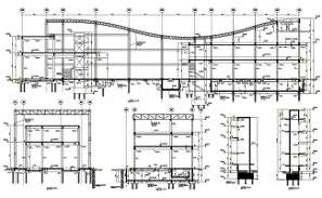 AutoCAD DWG showing a elevation view of a commercial complex. Download the AutoCAD 2D file